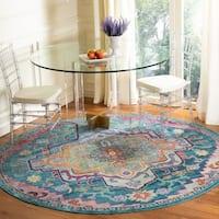 Safavieh Crystal Vintage Oriental - Teal / Rose Rug - 7' x 7' Round