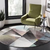 "Safavieh Porcello Modern & Contemporary Geometric - Grey / Multi Rug - 6'7"" x 6'7"" Round"