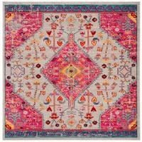 "Safavieh Madison Vintage Boho Medallion - Cream / Pink Rug - 6'-7"" X 6'-7"" Square"