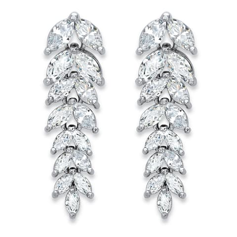 Silver Tone Marquise Cut Leaf Drop Earrings Cubic Zirconia