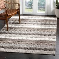 Safavieh Handmade Natura Transitional Geometric - Grey / Ivory Wool Rug - 5' x 8'