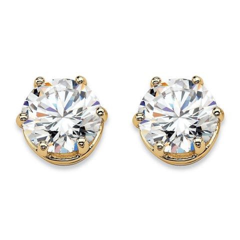 Gold over Sterling Silver Stud Earrings Cubic Zirconia (4 cttw TDW)