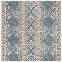 "Safavieh Linden Transitional Geometric - Cream / Blue Rug - 6'7"" x 6'7"" square"