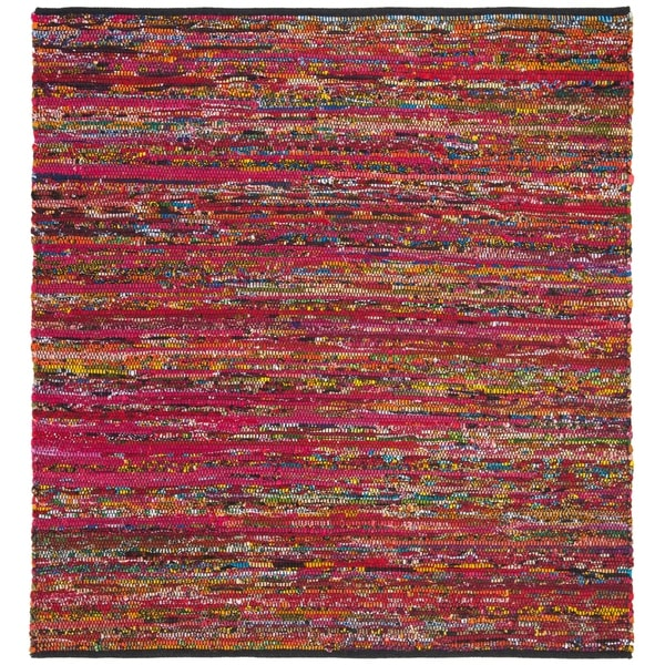 Shop Safavieh Handmade Rag Rug Casual Stripe Fuchsia Black