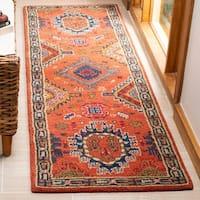 "Safavieh Handmade Heritage Traditional Rust / Navy Wool Rug - 2'3"" x 8' Runner"