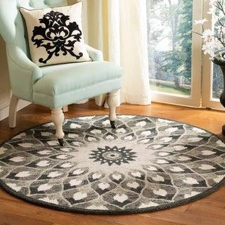 Safavieh Handmade Novelty Novelty Print - Charcoal / Ivory Wool Rug - 5' x 5' round