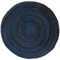 Safavieh Handmade Braided Country Geometric - Navy / Black Cotton Rug - 6' x 6' Round