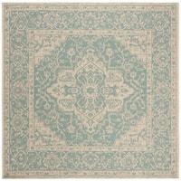 """Safavieh Linden Transitional Geometric - Aqua / Cream Rug - 6'7"""" x 6'7"""" square"""