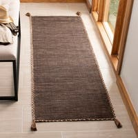 """Safavieh Handmade Montauk Casual Geometric - Brown / Black Cotton Rug - 2'3"""" x 7'"""