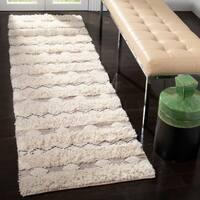"Safavieh Handmade Natura Transitional Geometric - Ivory / Grey Wool Rug - 2'3"" x 8'"