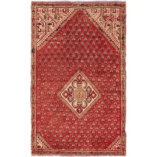 Hand Knotted Hossainabad Semi Antique Wool Area Rug - 3' x 5'
