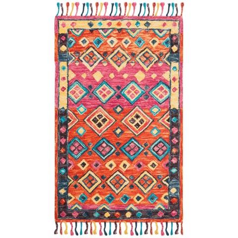 Safavieh Handmade Aspen Bohemian & Eclectic Southwestern - Orange / Fuchsia Wool Tassel Area Rug - 2' x 3'