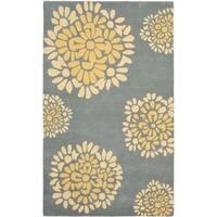 "Safavieh Handmade Martha Stewart Collection Modern & Contemporary Floral - Cement Wool Rug - 9'6"" x 13'6"""