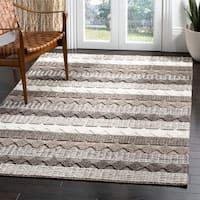 Safavieh Handmade Natura Transitional Geometric - Grey / Ivory Wool Rug - 8' X 10'
