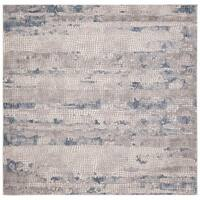 """Safavieh Meadow Modern & Contemporary Abstract - Grey / Navy Rug - 6'7"""" x 6'7"""" square"""
