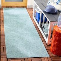 "Safavieh Courtyard Indoor / Outdoor Transitional Geometric - Aqua Rug - 2'3"" x 10' Runner"