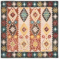 Safavieh Handmade Aspen Bohemian & Eclectic Southwestern - Beige / Charcoal Wool Rug - 7' x 7' Square
