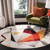 "Safavieh Porcello Modern & Contemporary Geometric - Light Grey / Orange Rug - 6'7"" x 6'7"" Round"
