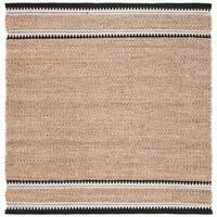 Safavieh Handmade Natural Fiber Casual Stripe - Natural / Black Jute Rug - 6' x 6' Square