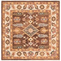 Safavieh Handmade Antiquity Traditional Oriental - Dark Brown / Ivory Wool Rug - 6' x 6' Square