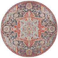 "Safavieh Provance Vintage Oriental - Aqua / Red Rug - 6'7"" x 6'7"" round"