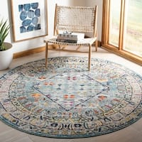 "Safavieh Monaco Bohemian Chic Blue / Light Grey Rug - 6'7"" x 6'7"" round"