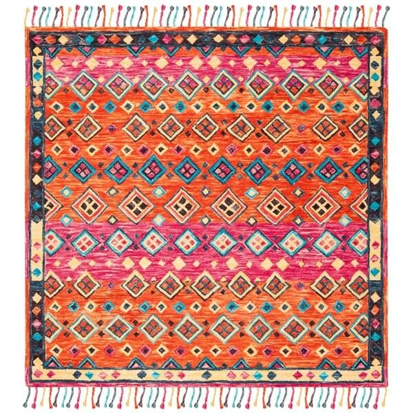Safavieh Handmade Aspen Bohemian & Eclectic Southwestern - Orange / Fuchsia Wool Tassel Area Rug - 7' x 7' Square