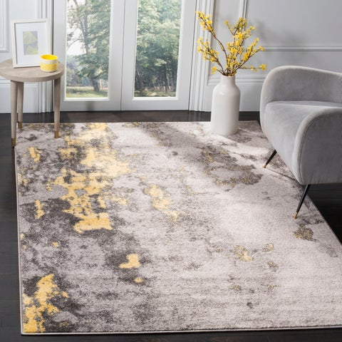 Safavieh Adirondack Apollo Modern Abstract Grey / Yellow Area Rug - 4' x 4' Square