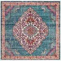 Safavieh Monaco Bohemian & Eclectic Geometric - Blue / Multi Rug - 5' x 5' square