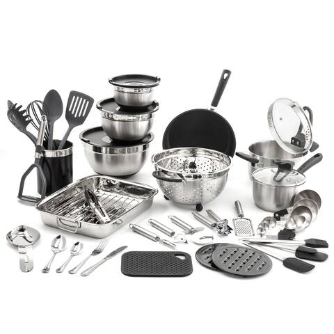 "58 pc. ""Kitchen in a Box"" Stainless Steel Cookware Set"