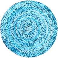 Safavieh Handmade Braided Country Geometric - Turquoise Cotton Rug - 3' X 3' Round