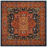 Safavieh Evoke Vintage Medallion Blue/ Orange Area Rug - 3' x 3' Square