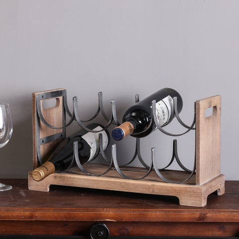 Wood and Metal Wine Holder