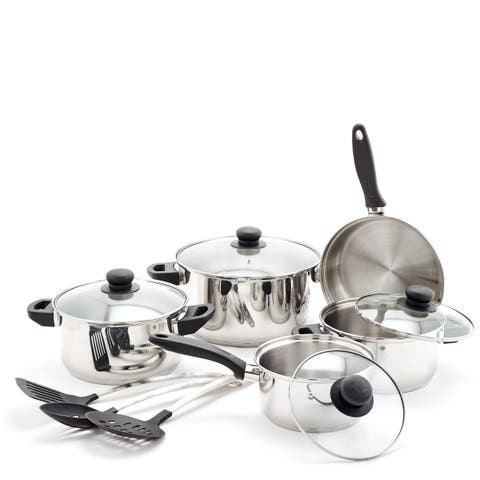 12 Pc Stainless Steel Cookware Set & Kitchen Tools