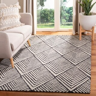 Safavieh Handmade Micro-Loop Transitional Geometric - Charcoal / Ivory Wool Rug - 8' x 10'