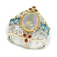 Michael Valitutti Palladium Silver Ethiopian Opal, Swiss Blue Topaz & Orange Sapphire Ring