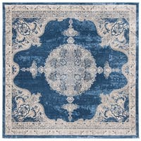 "Safavieh Brentwood Traditional Oriental - Navy / Light Grey Rug - 6'7"" x 6'7"" square"