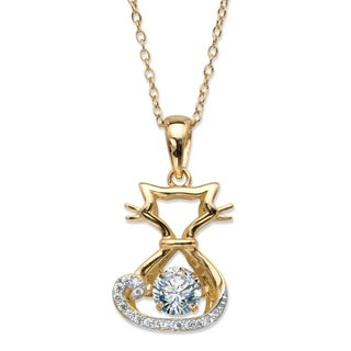 Yellow Gold Plated Cat Pendant Cubic Zirconia With Cable Chain 18