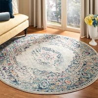 "Safavieh Madison Shabby Chic Medallion Light Grey / Fuchsia Rug - 6'-7"" X 6'-7"" Round"