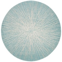 "Safavieh Evoke Vintage Geometric - Aqua / Ivory Rug - 6'7"" x 6'7"" round"