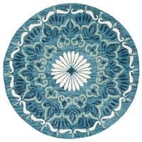 Safavieh Handmade Novelty Novelty Print - Blue / Ivory Wool Rug - 6' x 6' Round