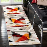 "Safavieh Porcello Modern & Contemporary Geometric - Light Grey / Orange Rug - 2'3"" x 8'"