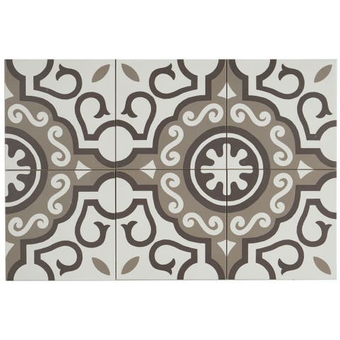 Hand-Made Encaustic Look 8X8 Particular White & Brown Decorative Blend