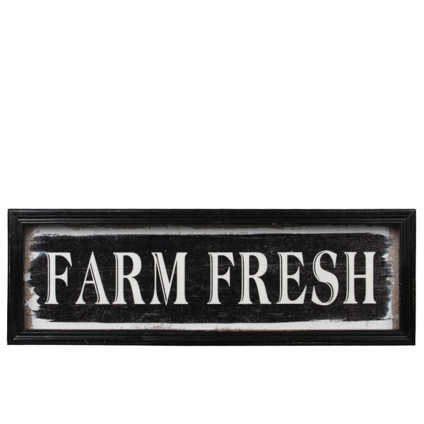 "Wood Rectangle Wall Art with Frame and Printed "" FARM FRESH"", Painted Black Finish"