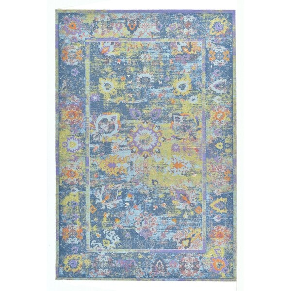 """Colorfields Pied-A-Terre Blue Printed Rectangle Rug - 8'6"""" x 12'"""