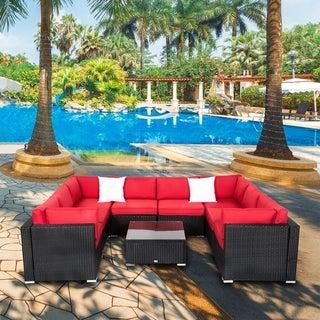 Kinbor 9PCs Outdoor Furniture Sectional Furniture Set All-weather Rattan Wicker Sofa Set w/Cushions & Pillows