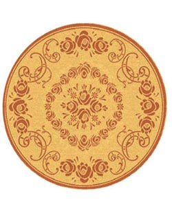 Safavieh Garden Elegance Natural/ Terracotta Indoor/ Outdoor Rug (5'3 Round) - 5'3 - Thumbnail 0
