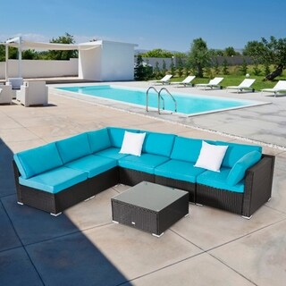 Kinbor 7-piece All-Weather Rattan Sectional Sofa Set Patio Furniture Set Cushioned Wicker Sofa Set