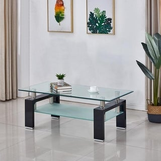 Perla Tempered Glass/Wood Coffee Table