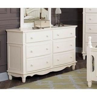 Wooden Six Drawer Dresser With Efficient Storage, White